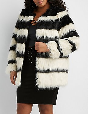 Plus Size Striped Faux Fur Coat