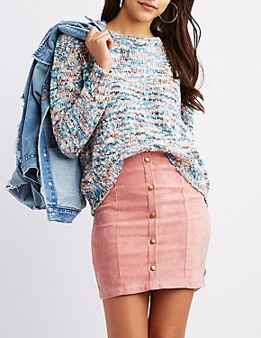 Multicolor High-Low Cropped Sweater