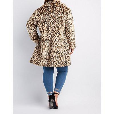 Plus Size Leopard Print Faux Fur Longline Coat