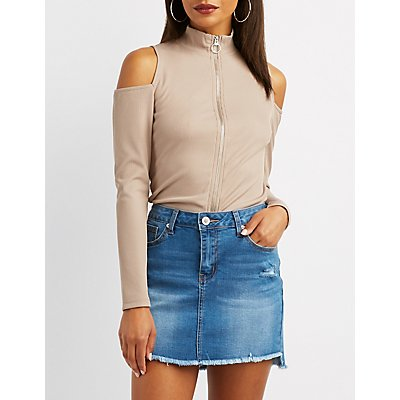 Ribbed Zip-Front Cold Shoulder Top