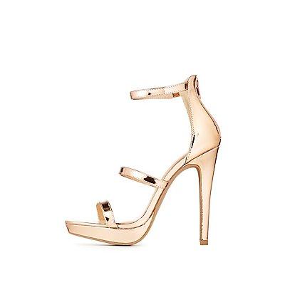 Wide Width Metallic Ankle Strap Dress Sandals