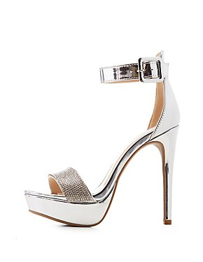 Qupid Crystal Two-Piece Platform Sandals