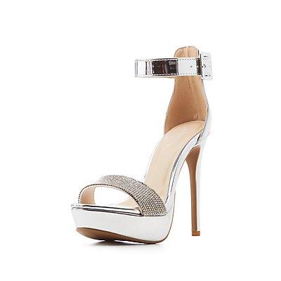 Qupid Crystal Ankle Strap Platform Sandals