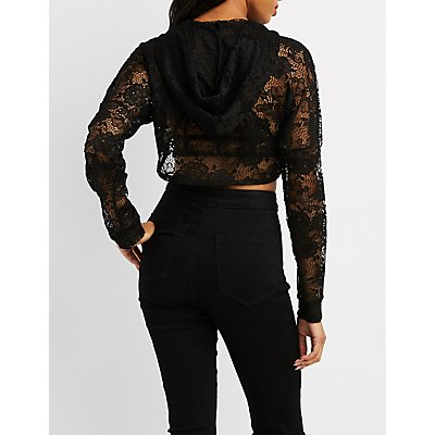 Lace Open Cropped Hoodie