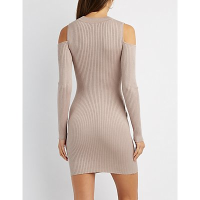 Cold Shoulder Mock Neck Bodycon Sweater Dress