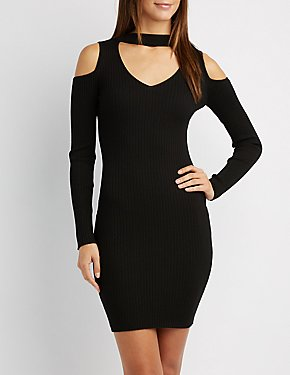 Cold Shoulder Mock Neck Bodycon Dress