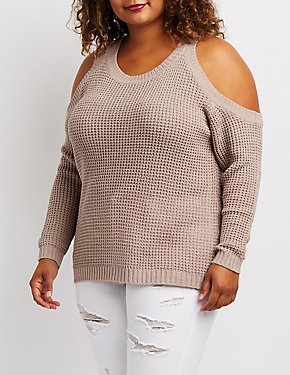 Plus Size Shaker Stitch Cold Shoulder Pullover Sweater