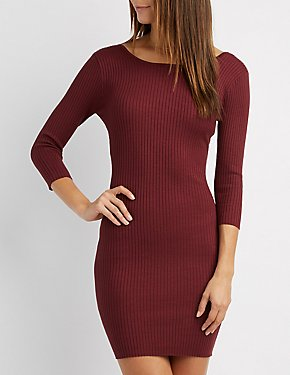 Ribbed Scoop Neck Bodycon Dress