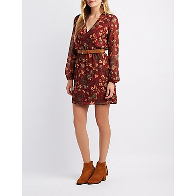 Floral Surplice Dress