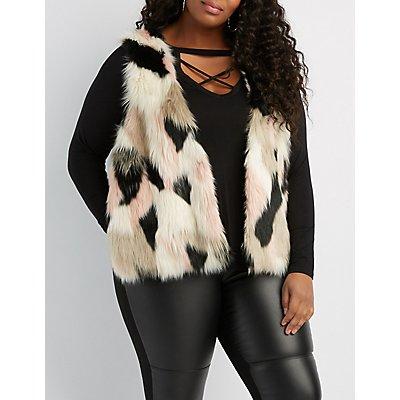 Plus Size Multicolor Faux Fur Sweater Vest