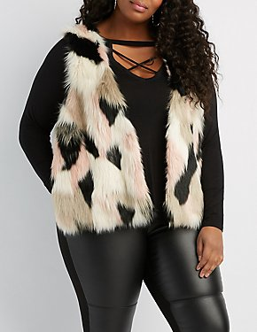 Plus Size Multicolor Faux Fur Sweater Vest