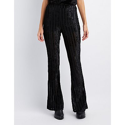 Shadow Stripe Velvet Flare Pants