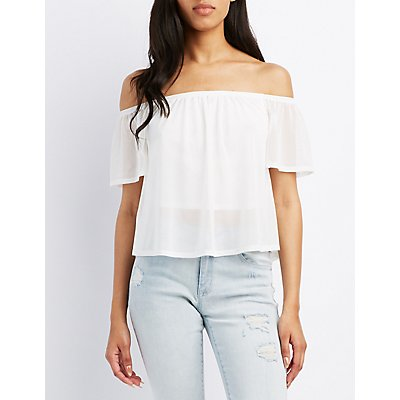 Mesh Off-The-Shoulder Top