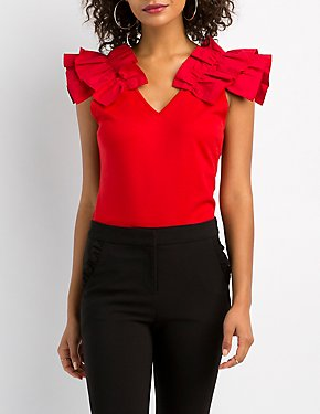 Ruffle-Trim V-Neck Top