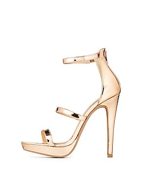 Wide Width Metallic Ankle Strap Dress Sandals