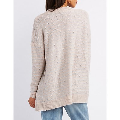Lurex Striped Open-Front Cardigan