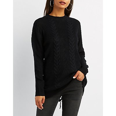 Cable Knit Lace-Up Back Tunic