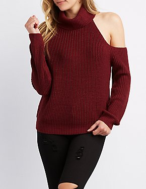 Cut-Out Turtle Neck Shaker Stitch Sweater