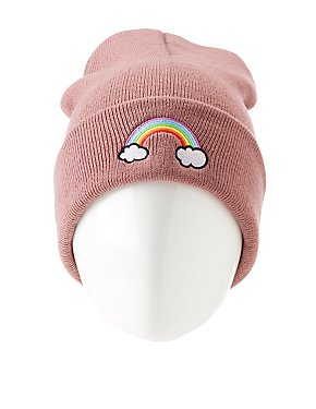 Rainbow Patch Knit Beanie