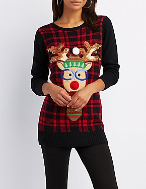 Reindeer Plaid Knit Nose Light Up Tunic