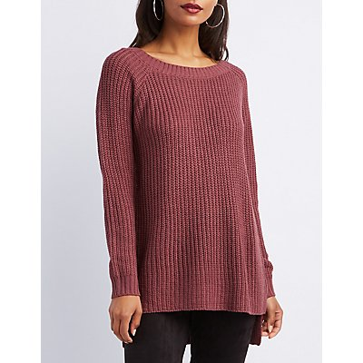 Open-Back Shaker Stitch Sweater