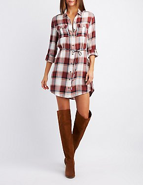 Plaid Open-Back Shirt Dress