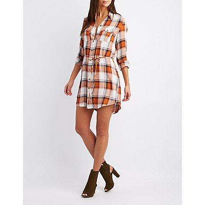 Plaid Open-Back Shirt Dress
