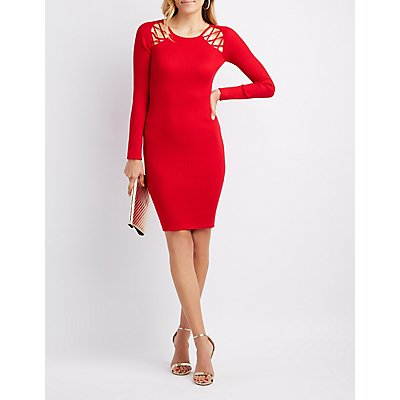 Ribbed Caged Bodycon Sweater Dress