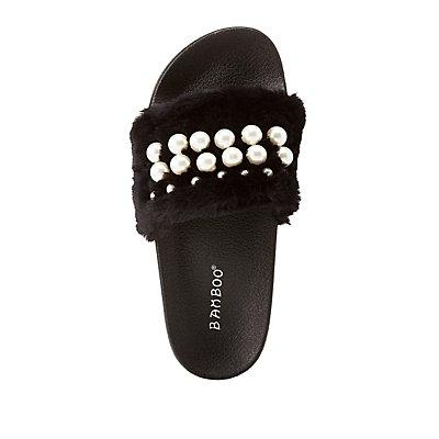 Bamboo Faux Fur Pearl Embellished Slides