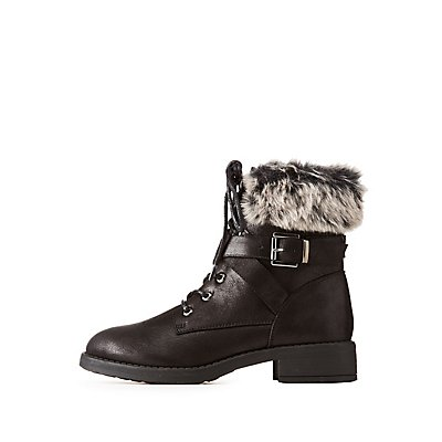 Faux Fur-Trim Buckled Combat Boots