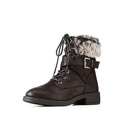 Faux Fur-Trim Buckled Combat Boots