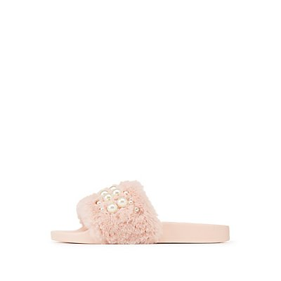 Faux Fur Pearl Embellished Slides