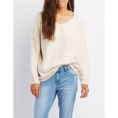 Boucle V-Neck Pullover Sweater