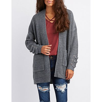 Shaker Stitch Lace-Up Detail Open-Front Cardigan