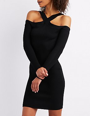 Ribbed Cold Shoulder Bodycon Sweater Dress