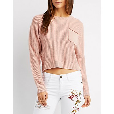 Shaker Stitch Pocket Cropped Sweater