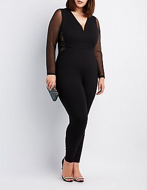 Plus Size Lattice-Detail Mesh-Trim Jumpsuit