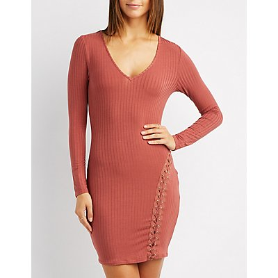 Lace-Up Detail Ribbed Bodycon Dress