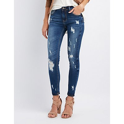 Cello Distressed Mid-Rise Skinny Jeans