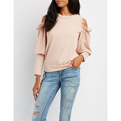 Brushed Ruffle Cold Shoulder Top