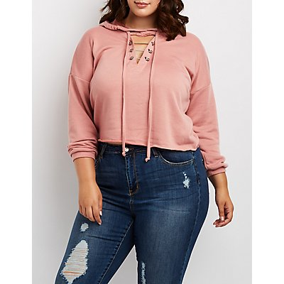 Plus Size Cut-Out Hooded Sweatshirt