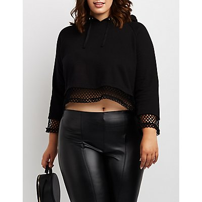 Plus Size Cropped Fishnet Hoodie