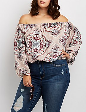 Plus Size Floral Off-The-Shoulder Blouse