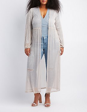 Plus Size Pleated Tie-Front Duster