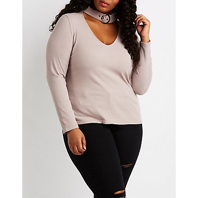 Plus Size Ribbed Belted Choker Neck Top