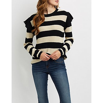 Shaker Stitch Ruffle-Trim Sweater