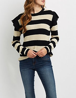 Shaker Stitch Ruffle-Trim Sweater