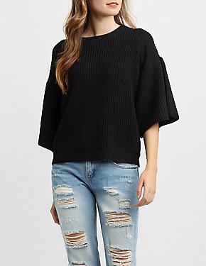 Shaker Stitch Bell Sleeve Pullover Sweatshirt