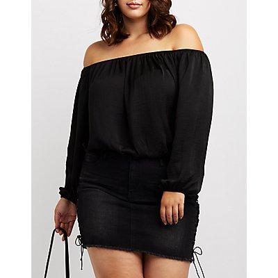 Plus Size Off-The-Shoulder Blouse