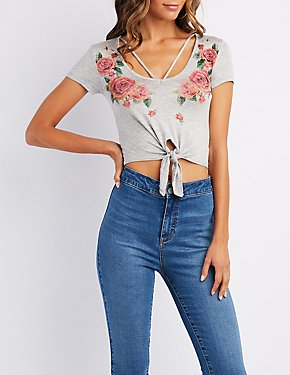 Caged Floral Graphic Crop Top